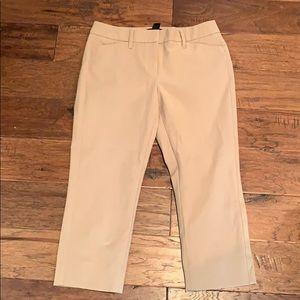 White House Black Market tan cropped pants, Sz 4